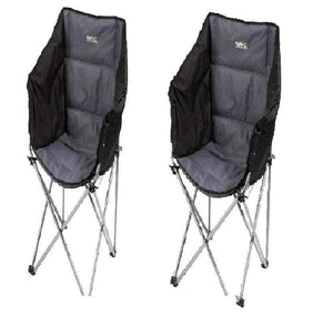 Regatta Navas Lightweight Folding Camping Chair With Storage Bag - Black Seal Grey x 2 OLPRO