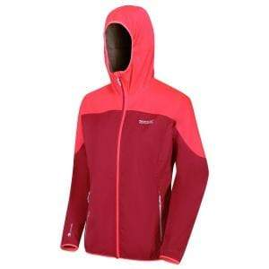 Women's Tarvos III Softshell Hooded Lightweight Walking Jacket - Dark Cerise/Neon Pink OLPRO