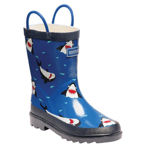 Kids Minnow Printed Wellington Boots Shark Nautical Blue Regatta