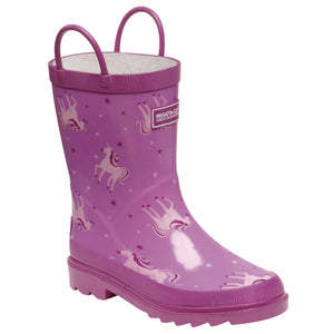 Kids Minnow Printed Wellington Boots Unicorn Radiant Orchid Regatta
