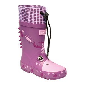 Kids' Mudplay Dinosaur Wellingtons Unicorn Radiant Orchid REGATTA