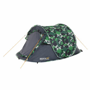 Malawi 2-Man Pop Up Print Festival Tent Green Geometric Print Regatta