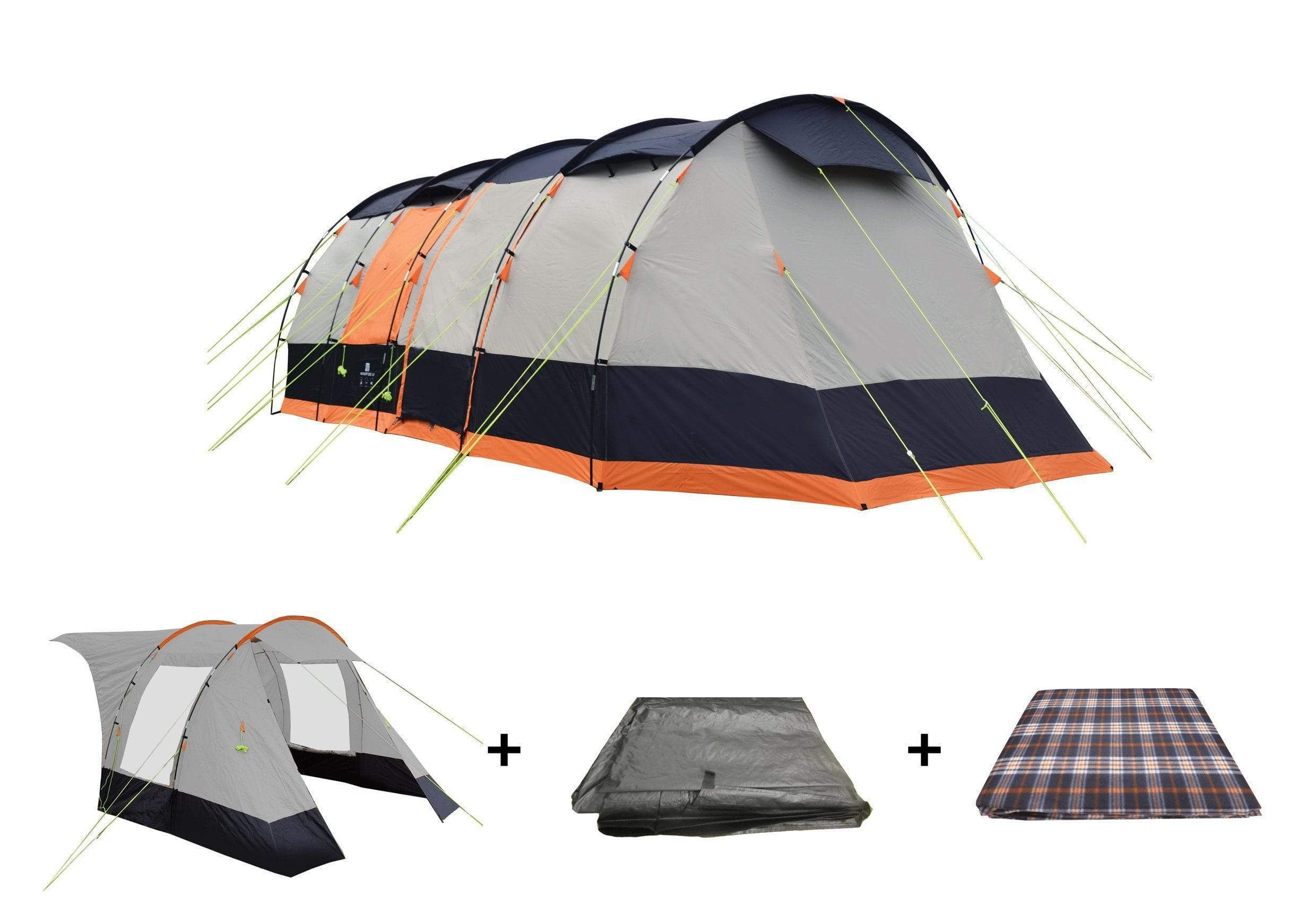 OLPRO Wichenford 3.0  8 Berth Tent Package, Extension, Tent, Footprint Groundsheet, Carpet