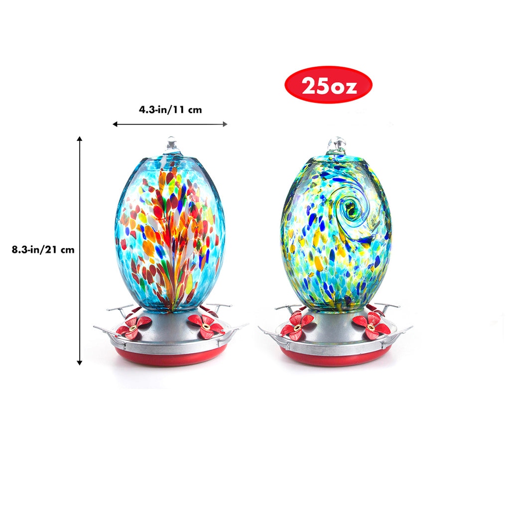 Hand Blown Glass Hummingbird Feeder  - 25 Ounces - Fireworks - MuseGarden
