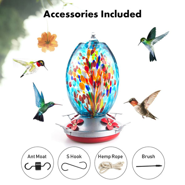 Muse Garden Hand Blown Glass Hummingbird Feeder  - 25 Ounces - Fireworks - MuseGarden
