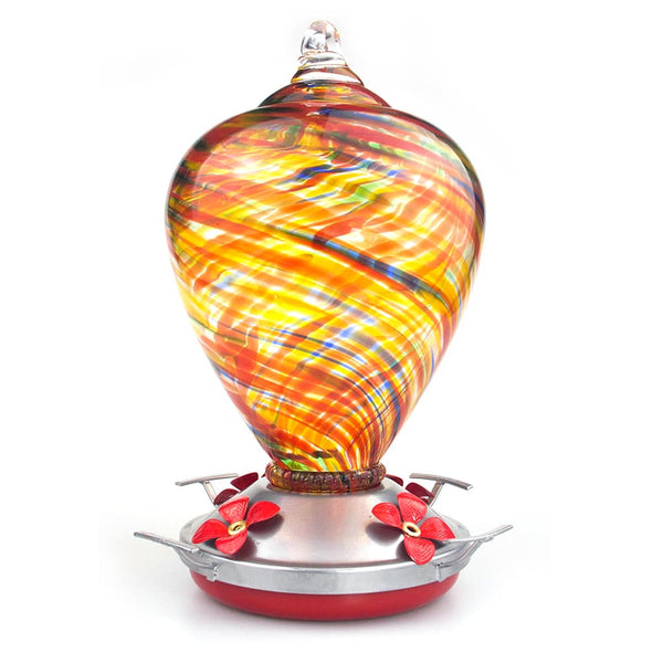 Muse Garden Hand Blown Glass Hummingbird Feeder  - 34 Ounces - Candy - MuseGarden