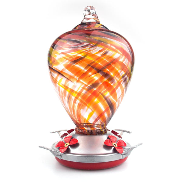 Muse Garden Hand Blown Glass Hummingbird Feeder  - 34 Ounces - Flamenco - MuseGarden
