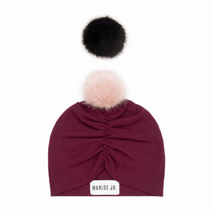 DORIS Frilly Beanie Burgundy (optional color of the pom pom)