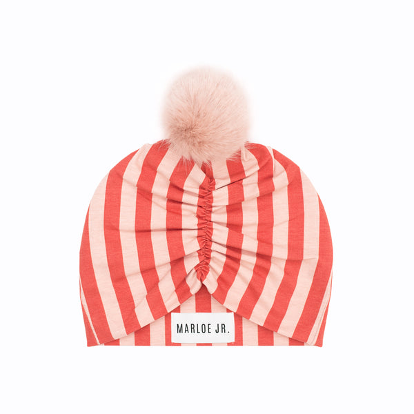 SIGGE Frilly Beanie Rust/Pink (optional color of the pom pom)