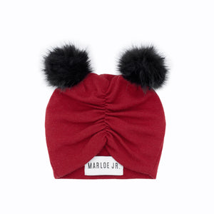 SIGNE Wool Frilly Beanie Red (two pom poms)