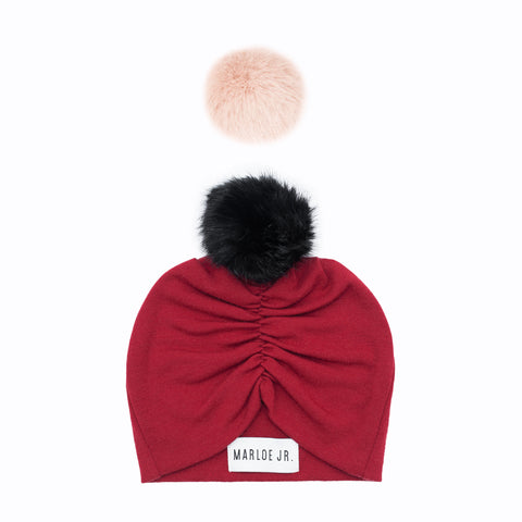 SIGNE Wool Frilly Beanie Red (optional color of the pom pom)