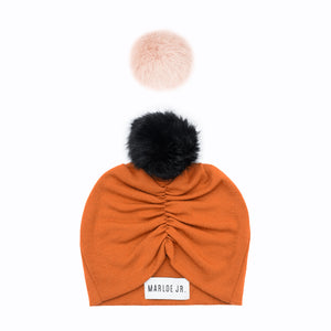 SIGNE Wool Frilly Beanie Orange (optional color of the pom pom)