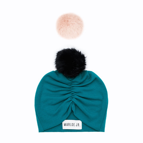 SIGNE Wool Frilly Beanie Petrol (optional color of the pom pom)
