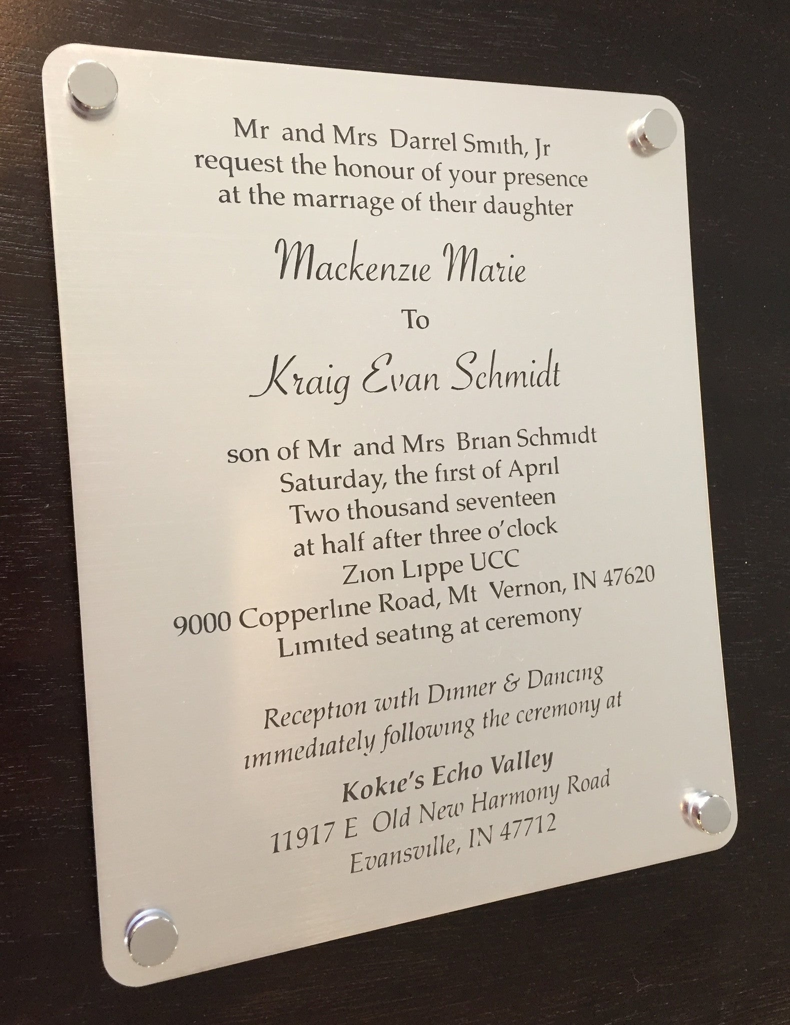 Wedding Invitation Engraved Keepsake Plaque Wall Art