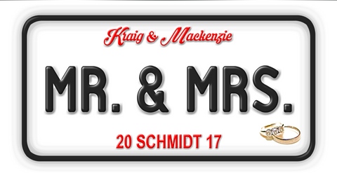 License Plate Mr. & Mrs. Personalized