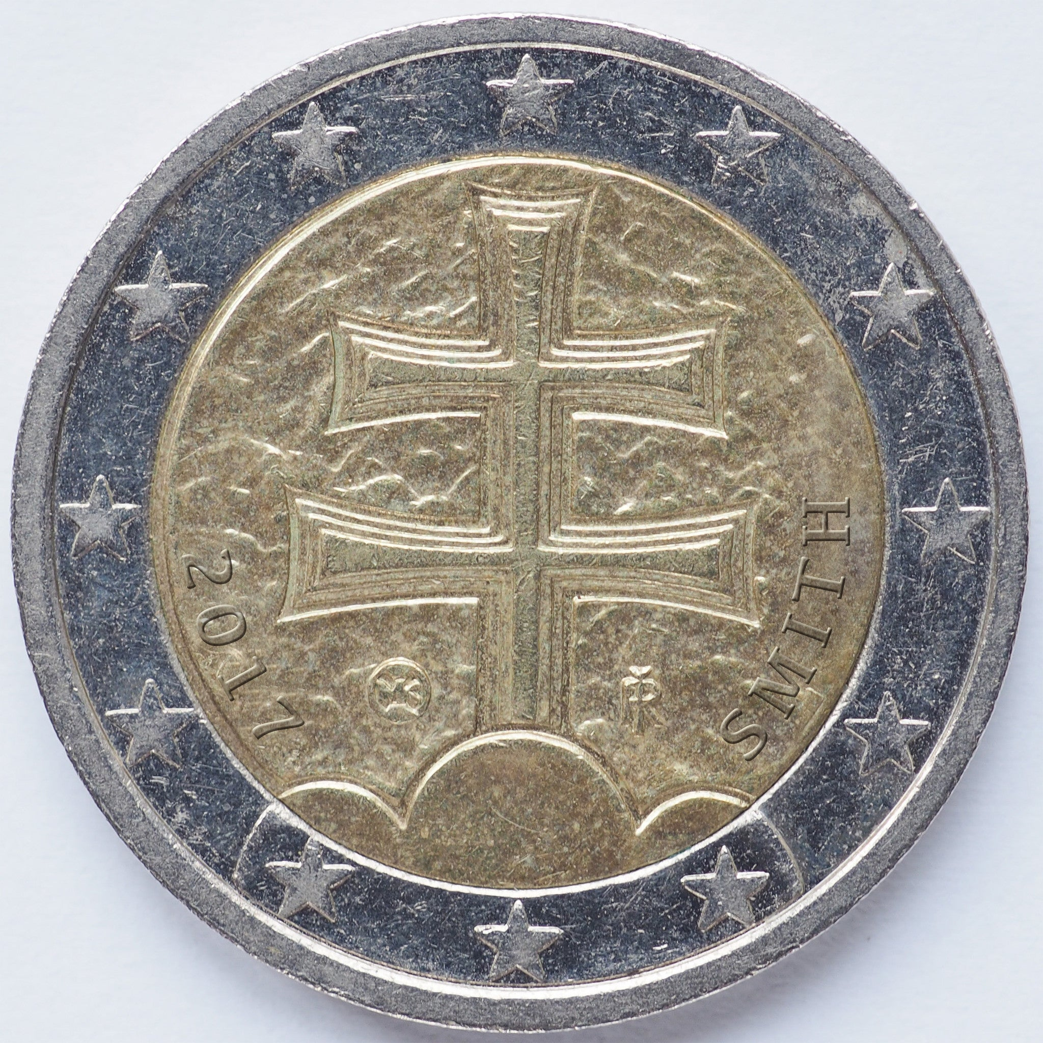 Euro coin without easel back