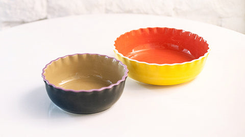 Color Block Ruffle Serving Bowls Set of 2