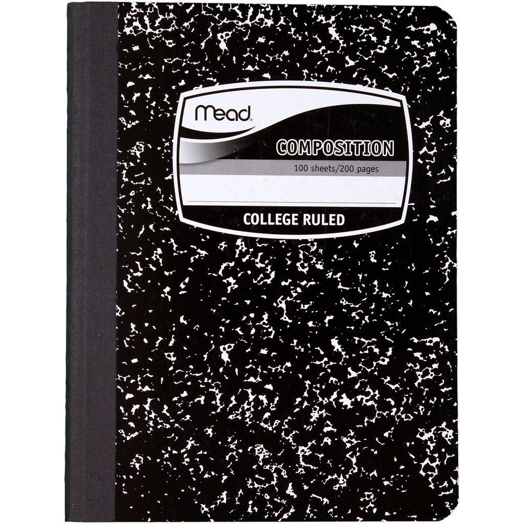 Mead Black Composition Notebook 200 Pages-College Rule (09932)