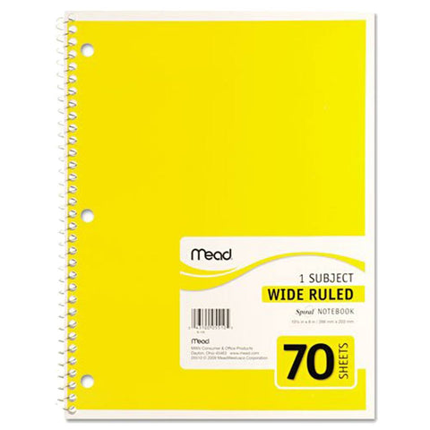 Mead 1 Subject Notebook 70 Sheets- Wide Rule (5510)