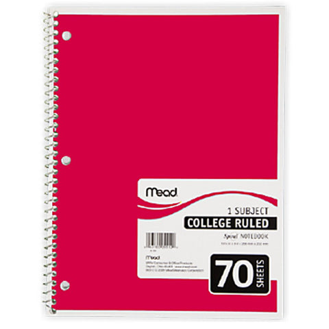 Mead 1 Subject Notebook 70 Sheets-College Rule (#05512)