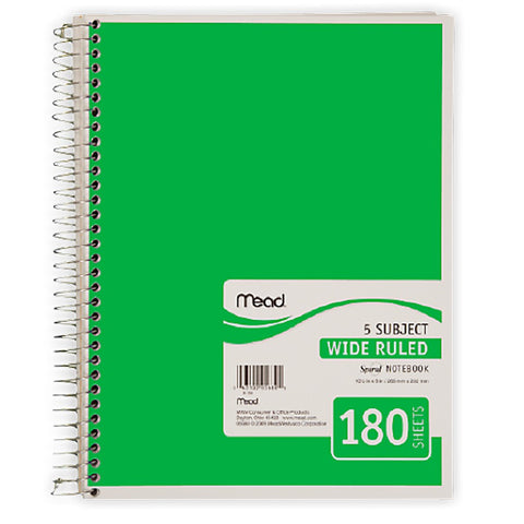 Mead 5 Subject Notebook-Wide Rule (5680)