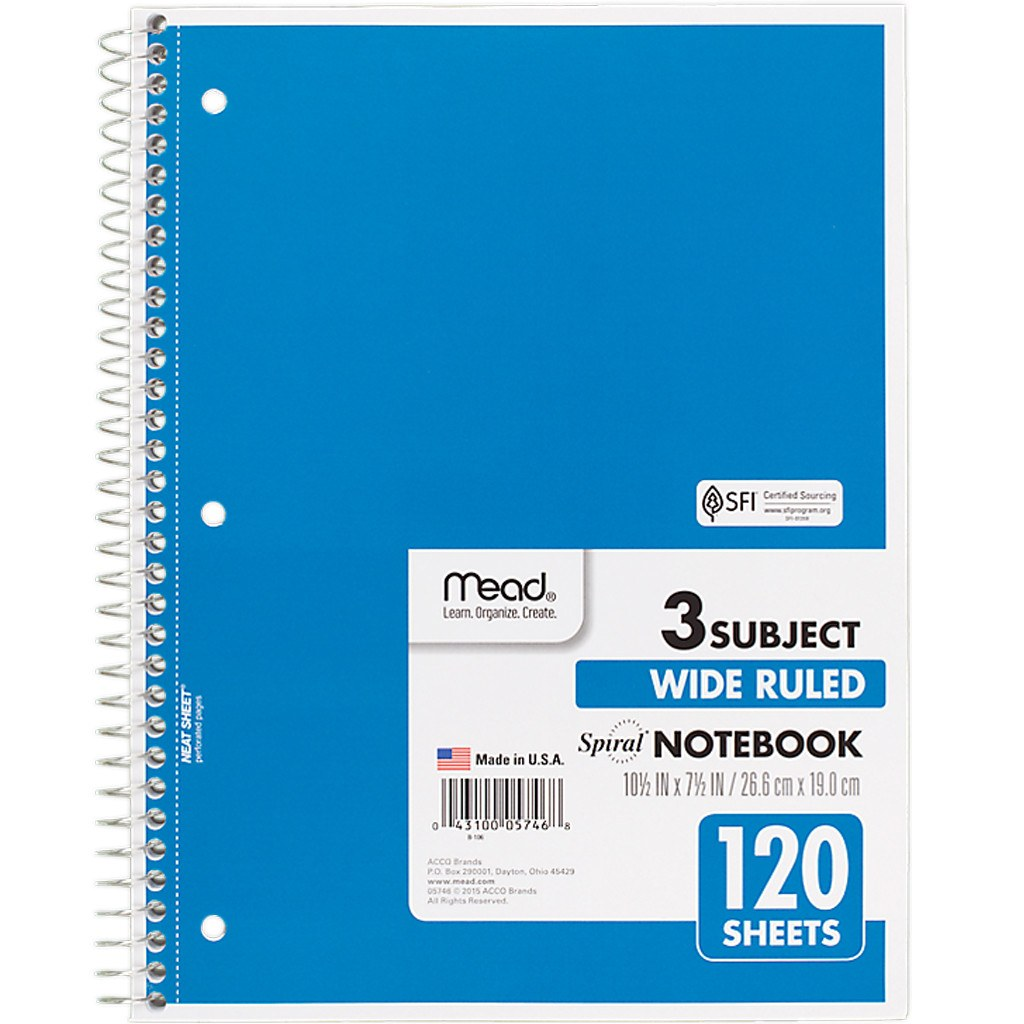 Mead 3 Subject Notebook- Wide Rule 120 Sheets (5746)