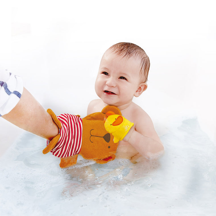 Happy Teddy and Duck Bath Mitt 2 Pc Set (#E0200)