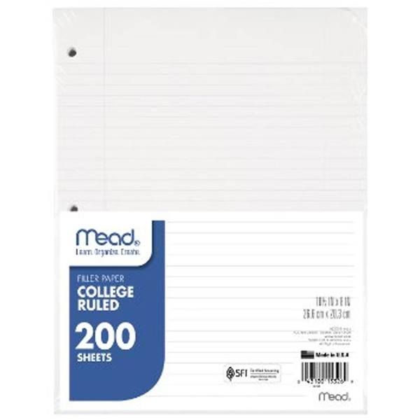 butterfly7.com Mead 200Ct. College Rule Filler Paper