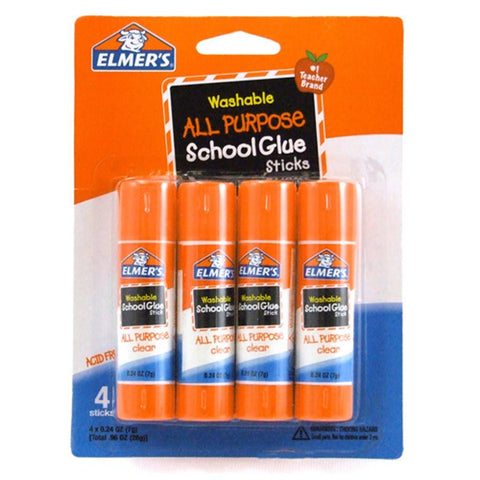 Elmer's Washable All Purpose School Glue Stick-4 Ct (.24oz) (E542)
