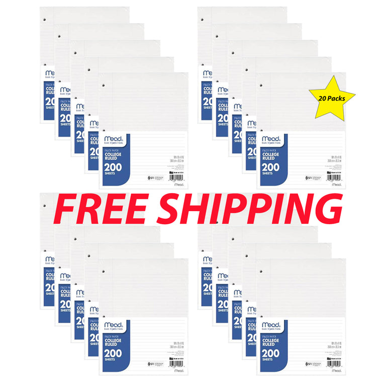 Butterfly 7: Bulk Buy Special Mead Filler Paper 200 Ct.-College Rule (15326)-20 Pk
