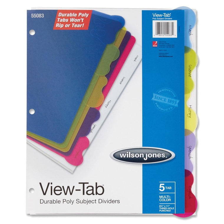 Wilson Jones View Tabs Poly Subject Dividers (#55083)