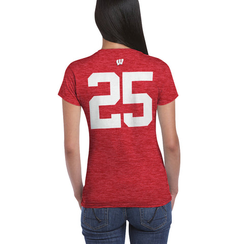Womens Wisconsin Badgers 25 Football Jersey Tee
