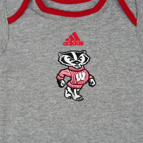 Badgers Gray Snap-tee Boys- Adidas