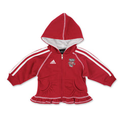 Wisconsin Girl's Ruffle Zip Up Hood & Pant Set by Adidas