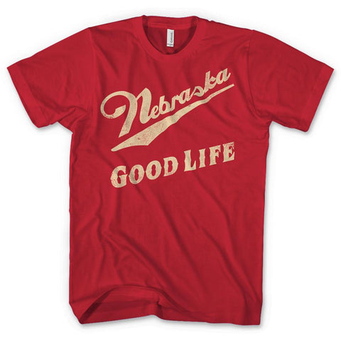 Nebraska Good Life Vintage Red Mens Tee