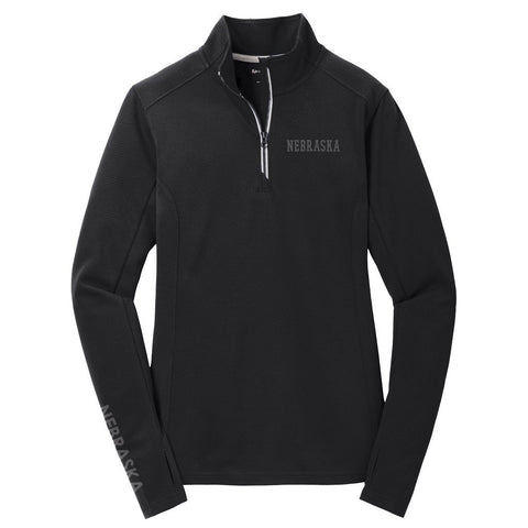 Ladies Nebraska Textured Performance 1/4 Zip by RZR - LS - Black