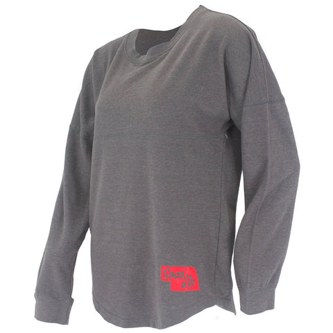 Women's Nebraska Dolman Spirit Top - Charcoal - LS