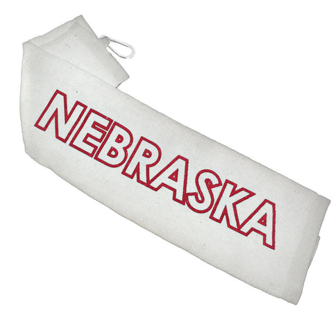 Nebraska Golf Towel by RZR - White