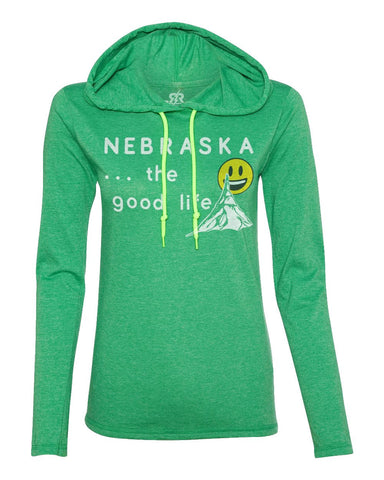 Nebraska... The Good Life Hoody Tee by RZR - LS - Green