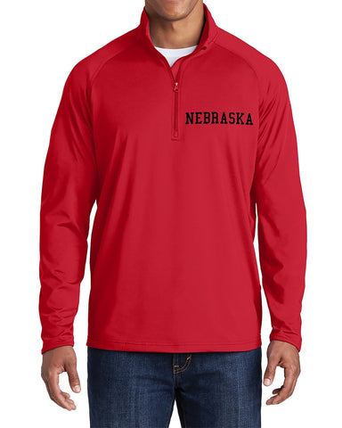 Nebraska Stretch 1/2 Zip Sport-Wick Pullover by RZR - Red - LS