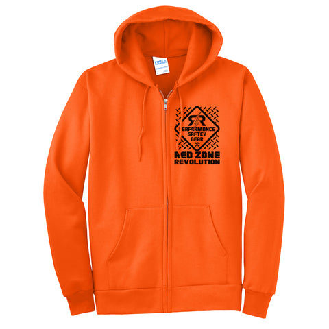 Men's Construction Work Full Zip Hoodie-Safety Orange