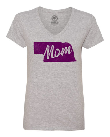 Women's Nebraska Mom V-Neck Tee By RZR - SS - Heather Grey