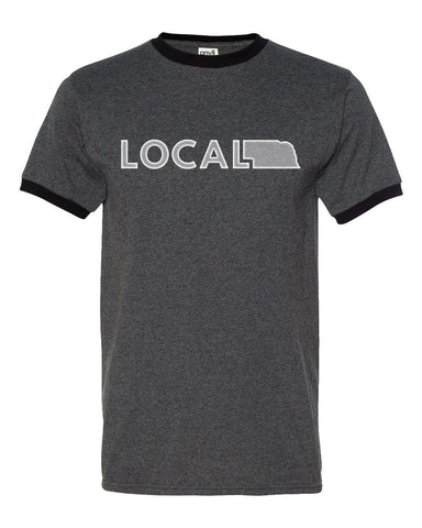 Local Nebraska Ringer Tee - SS - Grey