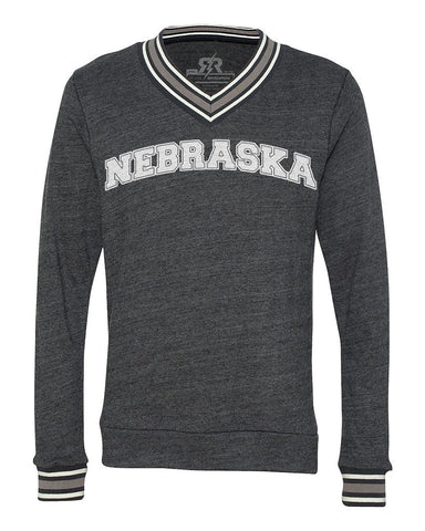 Men's Nebraska Varsity Tri-Blend Sweater by RZR - Black - LS