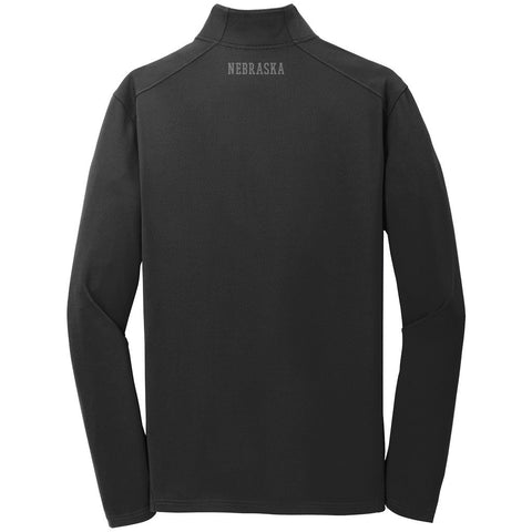 Men's Nebraska Performance Textured 1/4 Zip by RZR - Black - LS