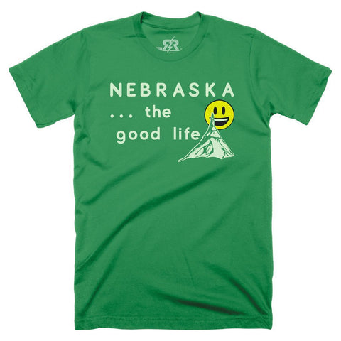 Nebraska... The Good Life Tee by RZR - SS - Green