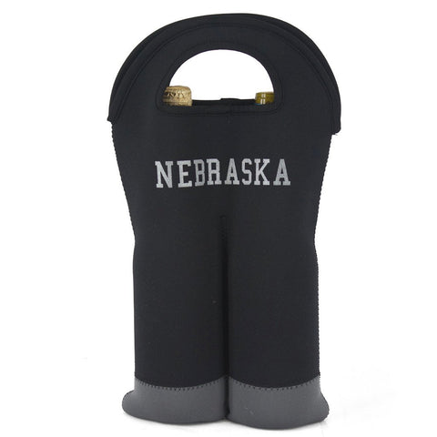 Nebraska Double Wine Tote by RZR - Black