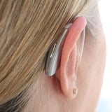 Simple Ear® Advanced, hearing aid, behind the ear hearing device, silver, behind ear