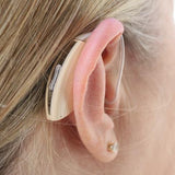 Simple Ear® Advanced, hearing aid, behind the ear hearing device, beige, behind ear view