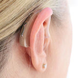 Simple Ear® Elan, hearing aid, behind the ear programmable hearing device, beige, behind ear view